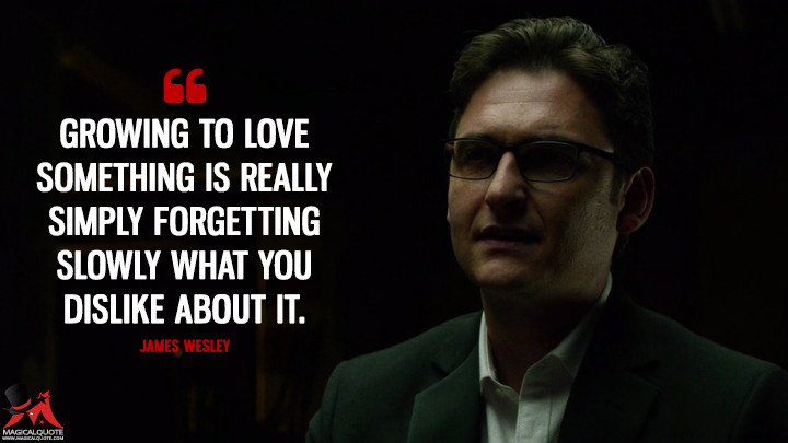 James Wesley Season 1 - Growing to love something is really simply forgetting slowly what you dislike about it. (Daredevil Quotes)