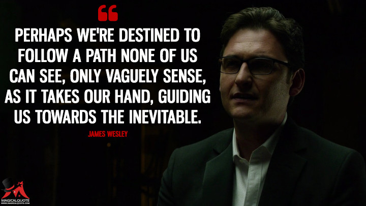 Perhaps we're destined to follow a path none of us can see, only vaguely sense, as it takes our hand, guiding us towards the inevitable. - James Wesley (Daredevil Quotes)