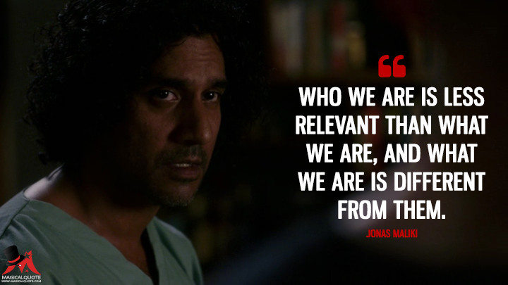 Who we are is less relevant than what we are, and what we are is different from them. - Jonas Maliki (Sense8 Quotes)
