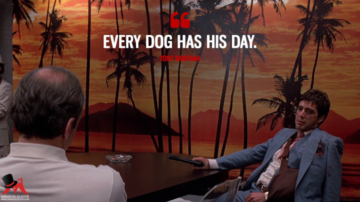 Every dog has his day. - Tony Montana (Scarface Quotes)