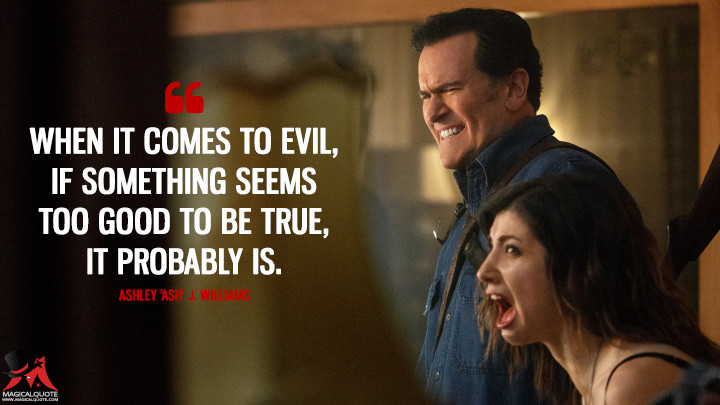 When it comes to Evil, if something seems too good to be true, it probably is. - Ashley 'Ash' J. Williams (Ash vs Evil Dead Quotes)