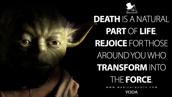Death is a natural part of life. Rejoice for those around you who transform into the Force. - Yoda (Star Wars: Episode III - Revenge of the Sith Quotes)