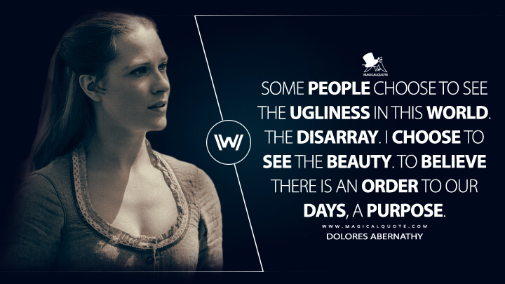 Some people choose to see the ugliness in this world. The disarray. I choose to see the beauty. To believe there is an order to our days, a purpose. - Dolores Abernathy (Westworld Quotes)