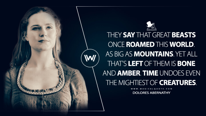 They say that great beasts once roamed this world. As big as mountains. Yet all that's left of them is bone and amber. Time undoes even the mightiest of creatures. - Dolores Abernathy (Westworld Quotes)