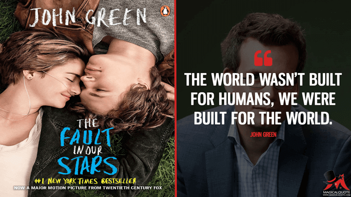 The world wasn't built for humans, we were built for the world. - John Green (The Fault in Our Stars Quotes)