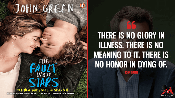 There is no glory in illness. There is no meaning to it. There is no honor in dying of. - John Green (The Fault in Our Stars Quotes)