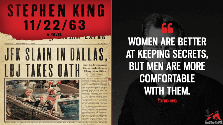 Women are better at keeping secrets, but men are more comfortable with them. - Stephen King (11/22/63 Quotes)