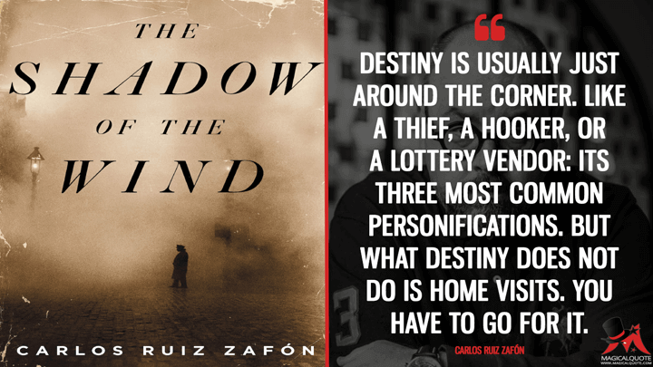 Destiny is usually just around the corner. Like a thief, a hooker, or a lottery vendor: its three most common personifications. But what destiny does not do is home visits. You have to go for it. - Carlos Ruiz Zafón (The Shadow of the Wind Quotes)