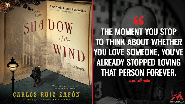 The moment you stop to think about whether you love someone, you've already stopped loving that person forever. - Carlos Ruiz Zafón (The Shadow of the Wind Quotes)