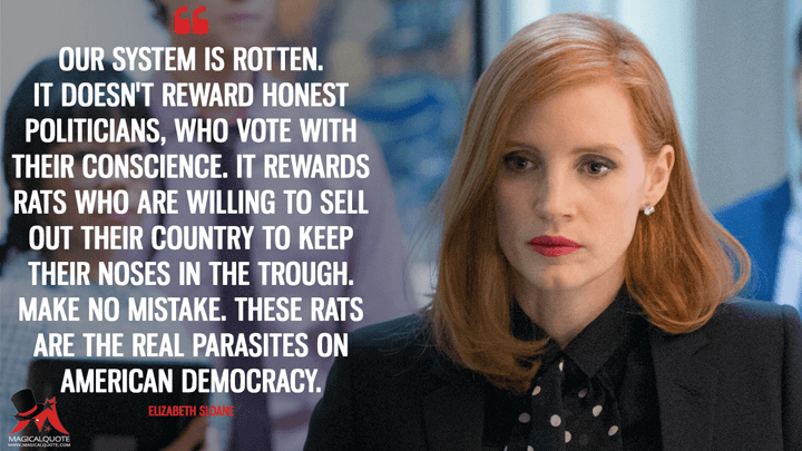 Our system is rotten. It doesn't reward honest politicians, who vote with their conscience. It rewards rats who are willing to sell out their country to keep their noses in the trough. Make no mistake. These rats are the real parasites on American democracy. - Elizabeth Sloane (Miss Sloane Quotes)
