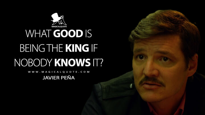 What good is being the king if nobody knows it? - Javier Peña (Narcos Quotes)