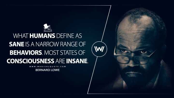 What humans define as sane is a narrow range of behaviors. Most states of consciousness are insane. - Bernard Lowe (Westworld Quotes)