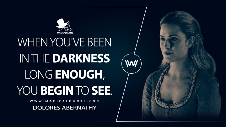 When you've been in the darkness long enough, you begin to see. - Dolores Abernathy (Westworld Quotes)