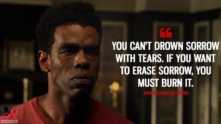 You can't drown sorrow with tears. If you want to erase sorrow, you must burn it. - John 'Bushmaster' McIver (Luke Cage Quotes)