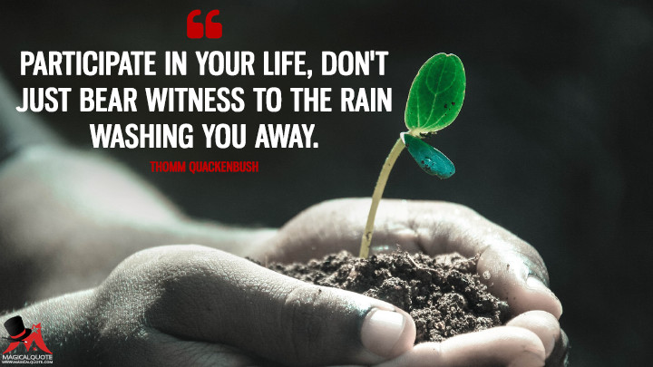 Participate in your life, don't just bear witness to the rain washing you away. - Thomm Quackenbush (Life Quotes)