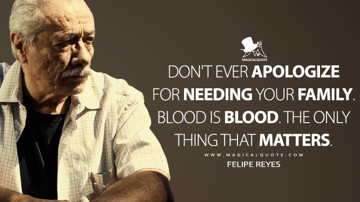 Don't ever apologize for needing your family. Blood is blood. The only thing that matters. - Felipe Reyes (Mayans M.C. Quotes)