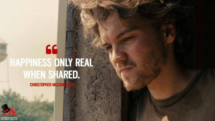 Happiness only real when shared. - Christopher McCandless (Into the Wild Quotes)