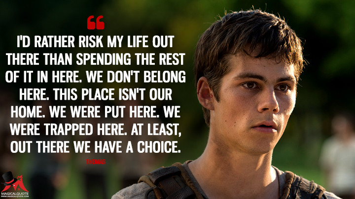I'd rather risk my life out there than spending the rest of it in here. We don't belong here. This place isn't our home. We were put here. We were trapped here. At least, out there we have a choice. - Thomas (The Maze Runner Quotes)