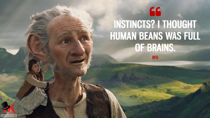 Instincts? I thought human beans was full of brains. - BFG (The BFG Quotes)
