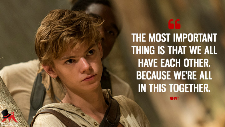 The most important thing is that we all have each other. Because we're all in this together. - Newt (The Maze Runner Quotes)