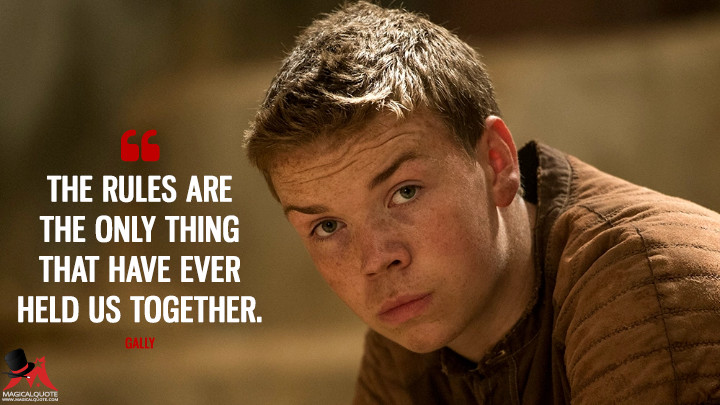 The rules are the only thing that have ever held us together. - Gally (The Maze Runner Quotes)