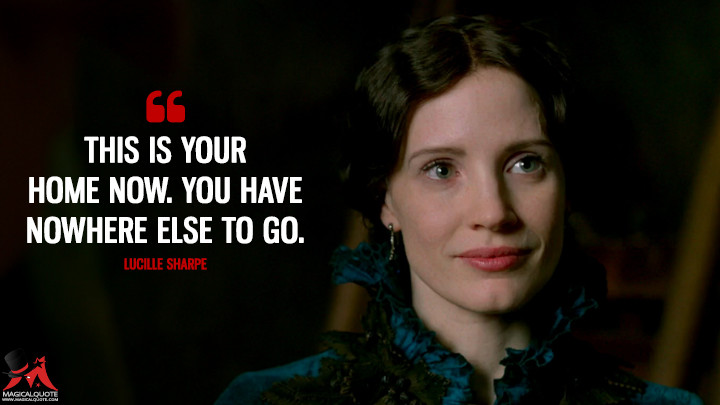 This is your home now. You have nowhere else to go. - Lucille Sharpe (Crimson Peak Quotes)