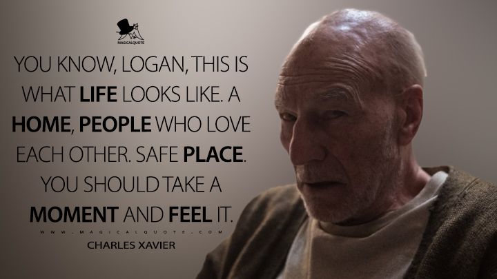 You know, Logan, this is what life looks like. A home, people who love each other. Safe place. You should take a moment and feel it. - Charles Xavier (Logan Quotes)
