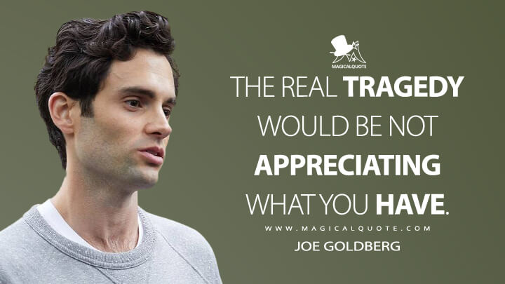 The real tragedy would be not appreciating what you have. - Joe Goldberg (You Quotes)
