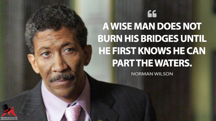 A wise man does not burn his bridges until he first knows he can part the waters. - Norman Wilson (The Wire Quotes)