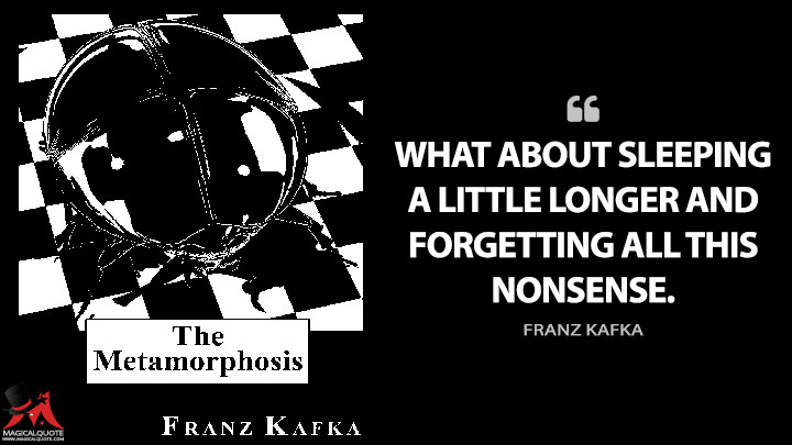 What about sleeping a little longer and forgetting all this nonsense. - Franz Kafka (The Metamorphosis Quotes)