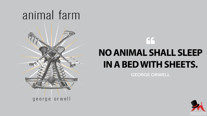 No animal shall sleep in a bed with sheets. - George Orwell (Animal Farm Quotes)