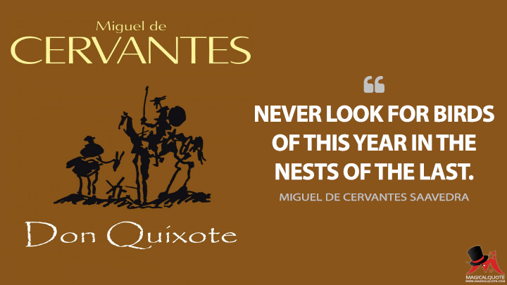 Never look for birds of this year in the nests of the last. - Miguel de Cervantes Saavedra (Don Quixote Quotes)