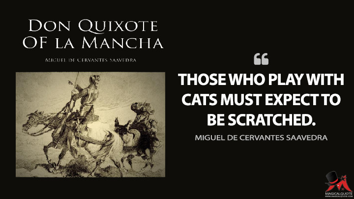 Those who play with cats must expect to be scratched. - Miguel de Cervantes Saavedra (Don Quixote Quotes)