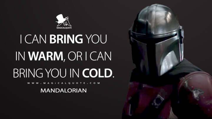 I can bring you in warm, or I can bring you in cold. - Mandalorian (The Mandalorian Quotes)