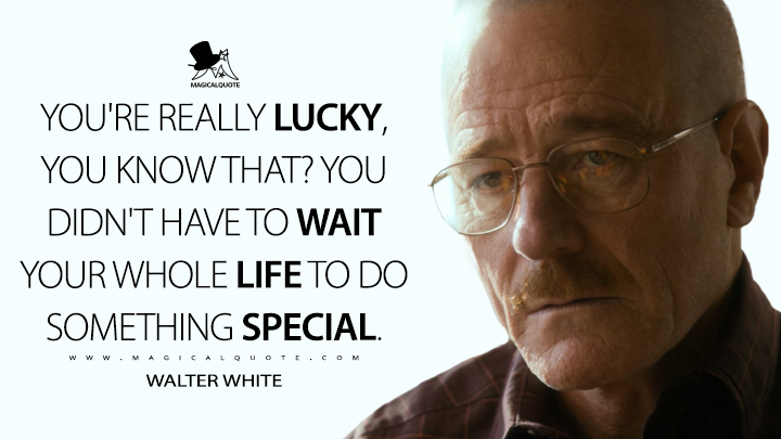 You're really lucky, you know that? You didn't have to wait your whole life to do something special. - Walter White (El Camino: A Breaking Bad Movie Quotes)