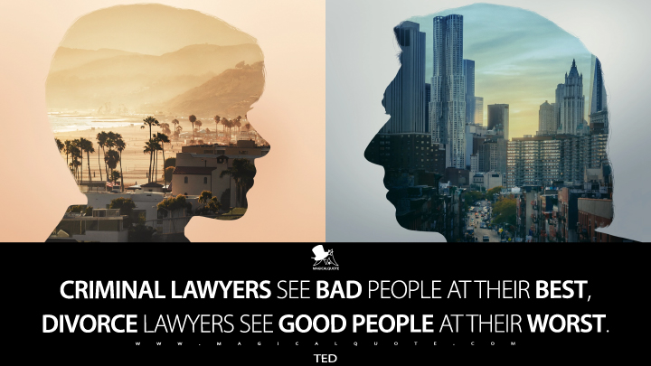Criminal lawyers see bad people at their best, divorce lawyers see good people at their worst. - Ted (Marriage Story Quotes)