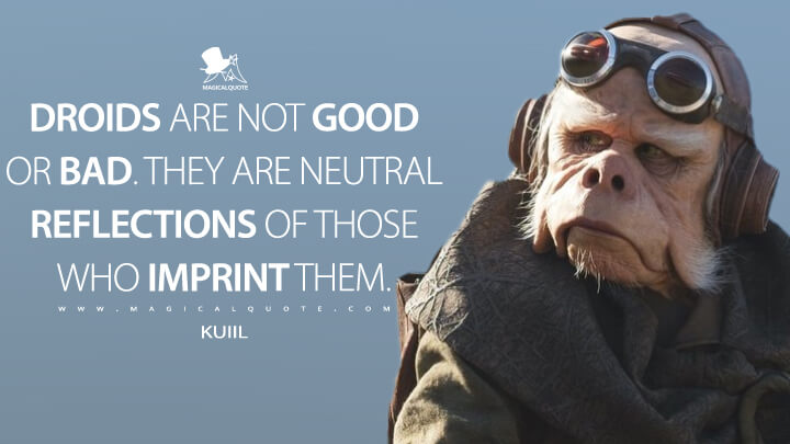 Droids are not good or bad. They are neutral reflections of those who imprint them. - Kuiil (The Mandalorian Quotes)