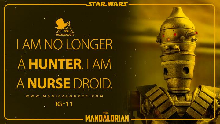 I am no longer a hunter. I am a nurse droid. - IG-11 (The Mandalorian Quotes)
