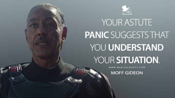 Your astute panic suggests that you understand your situation. - Moff Gideon (The Mandalorian Quotes)