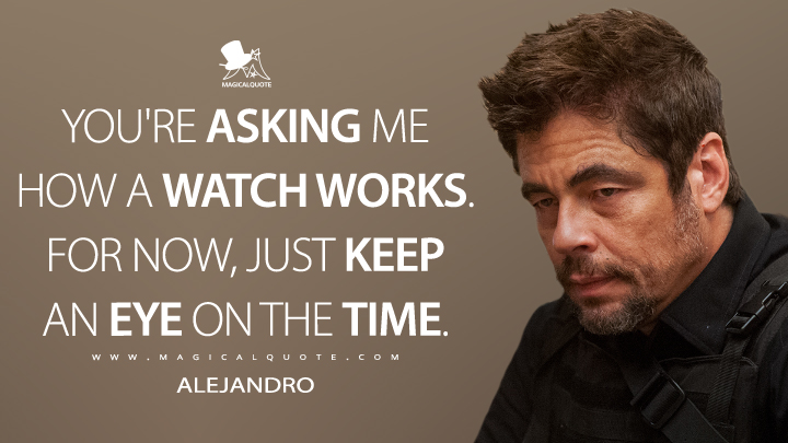 You're asking me how a watch works. For now, just keep an eye on the time. - Alejandro (Sicario Quotes)