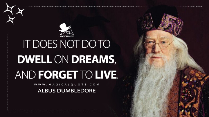 It does not do to dwell on dreams, and forget to live. - Albus Dumbledore (Harry Potter and the Sorcerer's Stone Quotes)