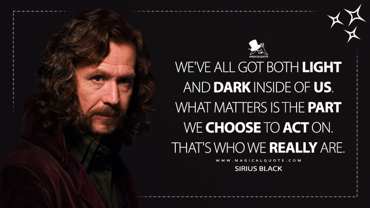 We've all got both light and dark inside of us. What matters is the part we choose to act on. That's who we really are. - Sirius Black (Harry Potter and the Order of the Phoenix Quotes)