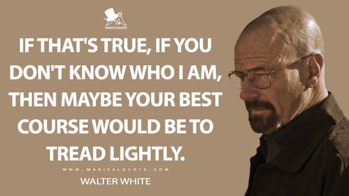 If that's true, if you don't know who I am, then maybe your best course would be to tread lightly. - Walter White (Breaking Bad Quotes)