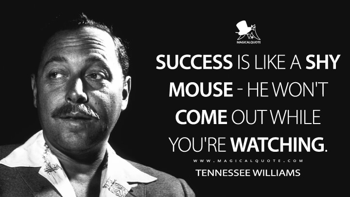 Success is like a shy mouse - he won't come out while you're watching. - Tennessee Williams Quotes