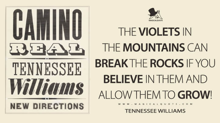 The violets in the mountains can break the rocks if you believe in them and allow them to grow! - Tennessee Williams (Camino Real Quotes)