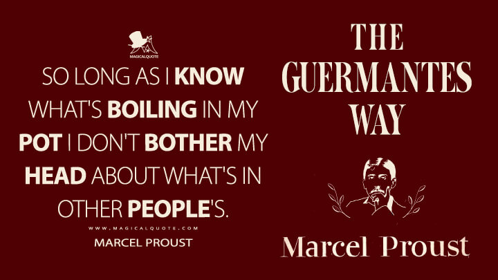 So long as I know what's boiling in my pot I don't bother my head about what's in other people's. - Marcel Proust (In Search of Lost Time Quotes)
