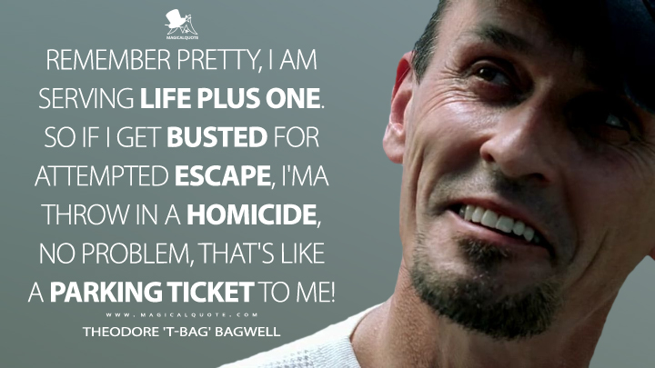 Remember Pretty, I am serving life plus one. So if I get busted for attempted escape, I'ma throw in a homicide, no problem, that's like a parking ticket to me! - Theodore 'T-Bag' Bagwell (Prison Break Quotes)