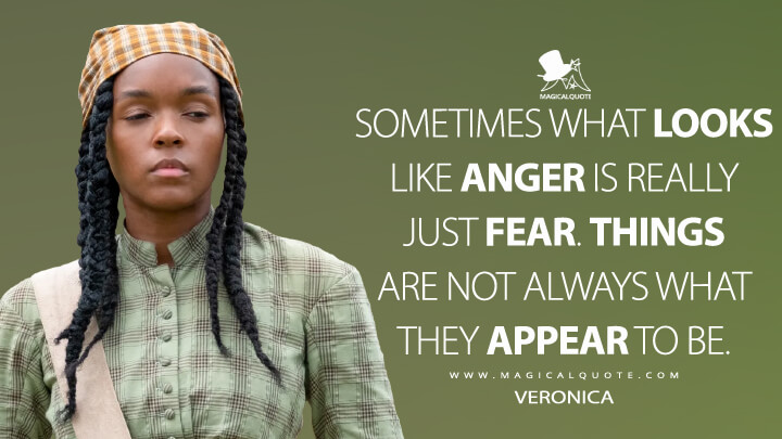 Sometimes what looks like anger is really just fear. Things are not always what they appear to be. - Veronica (Antebellum Quotes)
