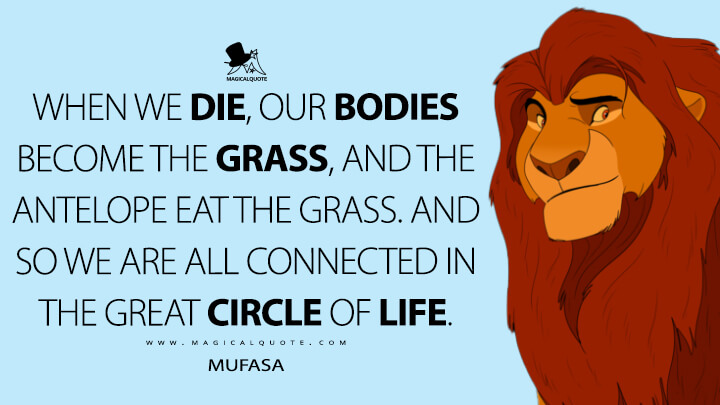 When we die, our bodies become the grass, and the antelope eat the grass. And so we are all connected in the great circle of life. - Mufasa (The Lion King Quotes)