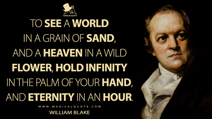 To see a World in a Grain of Sand, And a Heaven in a Wild Flower, Hold Infinity in the palm of your hand, And Eternity in an hour. - William Blake (Auguries of Innocence Quotes)